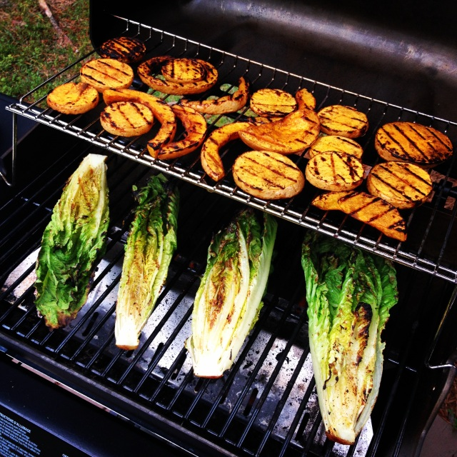 Grill master, Erin, at your service! That's marinated butternut squash and romane... YUM!